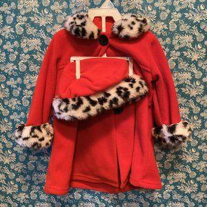 Rose Red Flannel Fur Trimmed Coat/Hat